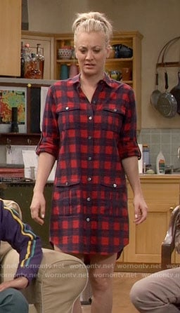 Penny's red plaid shirtdress on The Big Bang Theory