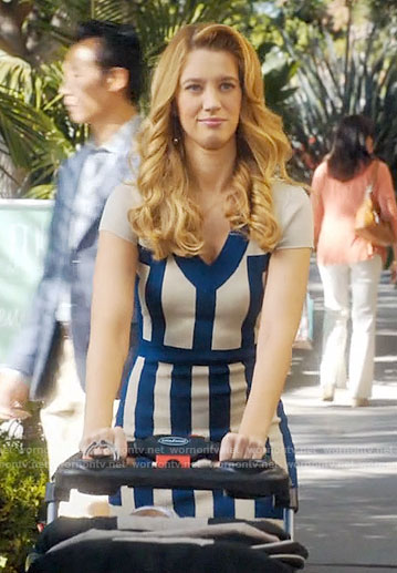 Petra's blue striped v-neck dress on Jane the Virgin