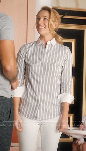 Petra's grey striped shirt on Jane the Virgin