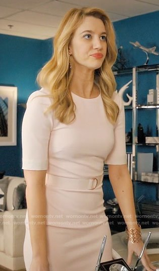 Petra's light pink belted sheath dress on Jane the Virgin