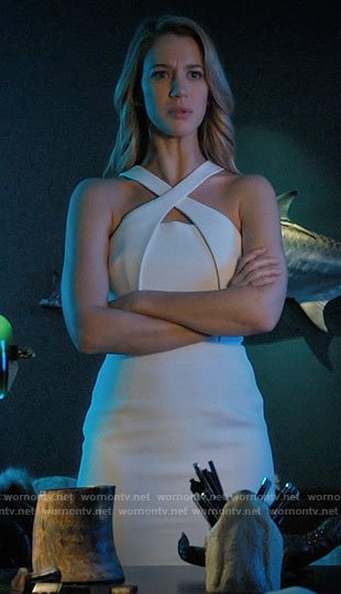 Petra's white cross-neck dress on Jane the Virgin