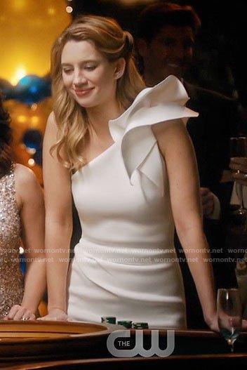 Petra's white one-shoulder dress on Jane the Virgin
