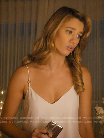 Petra's white ring-detail cami on Jane the Virgin
