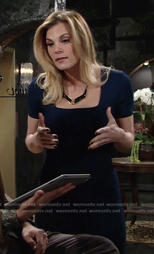 Phyllis's blue square-neck dress on The Young and the Restless