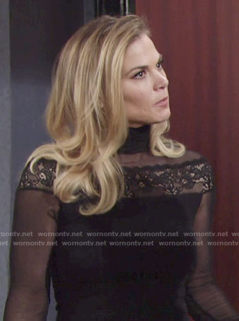 Phyllis's black lace and mesh turtleneck dress on The Young and the Restless