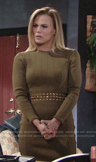 Phyllis's khaki green bandage dress on The Young and the Restless