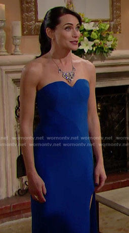 Quinn's blue strapless gown on The Bold and the Beautiful