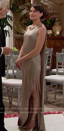 Quinn's champagne sleeveless gown on The Bold and the Beautiful