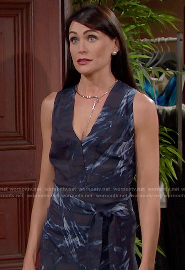 Quinn's blue v-neck midi dress with slits on The Bold and the Beautiful