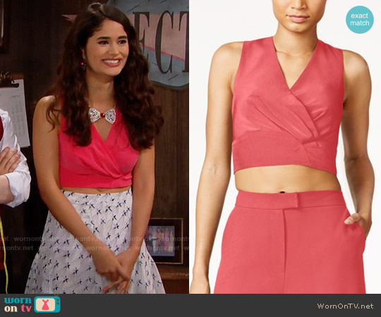 RACHEL Rachel Roy Zip-Back Crop Top in Flamingo worn by Darlita (Danube Hermosillo) on The Bold & the Beautiful