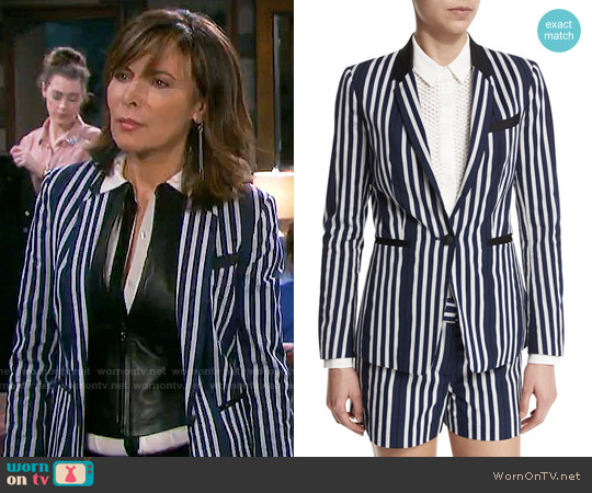 Rag & Bone Windsor Striped Blazer worn by Lauren Koslow on Days of our Lives