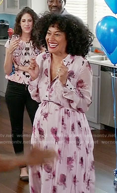 Rainbow's pink rose print dress on Black-ish