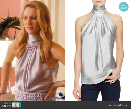 Ramy Brook Paige Top in Silver worn by Petra Solano (Yael Grobglas) on Jane the Virgin