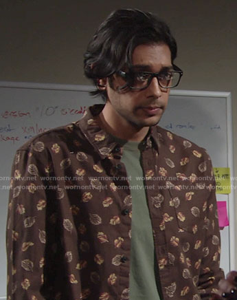 Ravi's brown leaf print shirt on The Young and the Restless