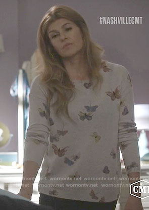 Rayna's butterfly print sweater on Nashville
