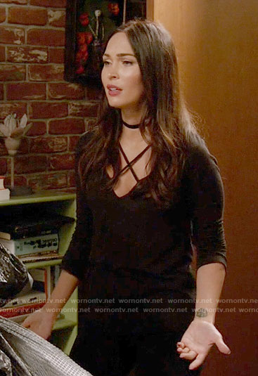 Reagan's black cross-strap top on New Girl