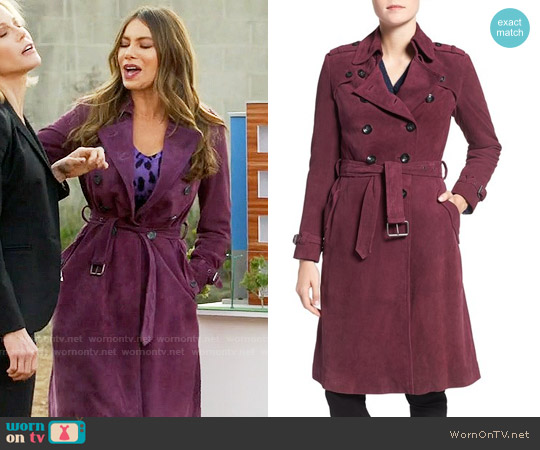 Rebecca Minkoff 'Amis' Double Breasted Suede Trench Coat worn by  Gloria Pritchett (Sofia Vergara) on Modern Family