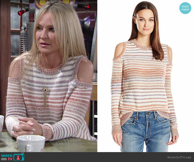 Rebecca Minkoff Page Stripe Cold Shoulder Sweater worn by Sharon Collins (Sharon Case) on The Young & the Restless