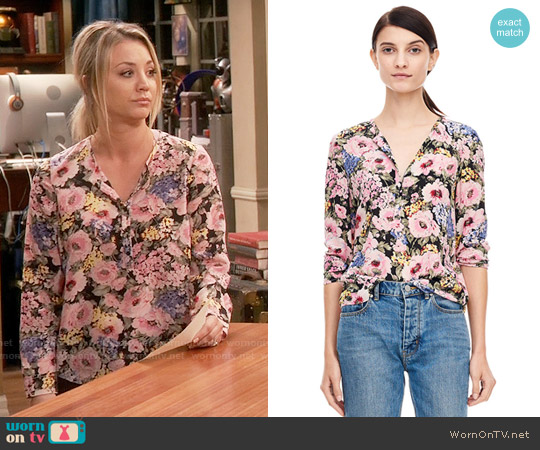 Rebecca Taylor Lavinia Rose Top worn by Kaley Cuoco on The Big Bang Theory