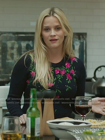 Madeline's floral embroidered sweater on Big Little Lies