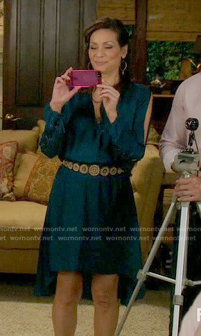 Regina's teal blue high-low dress with lace-up sleeves on Switched at Birth