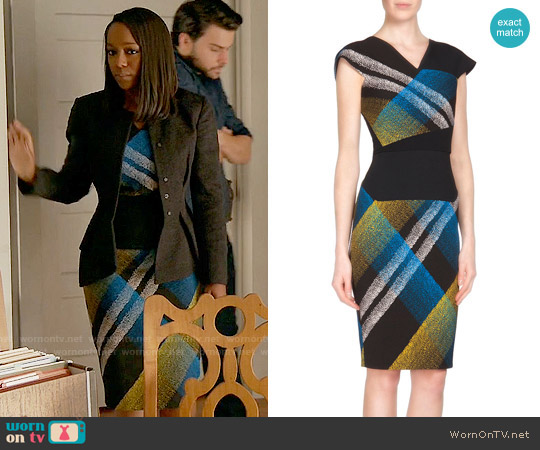 Roland Mouret Beadle Print Dress worn by Michaela Pratt (Aja Naomi King) on HTGAWM