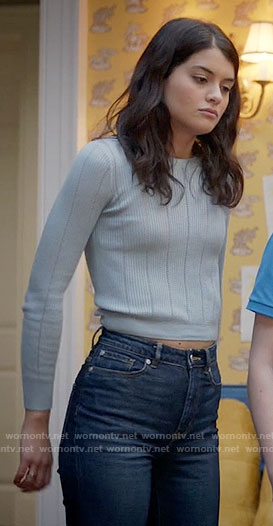 Sabrina's blue ribbed sweater on The Mick