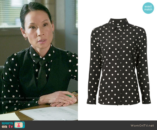 Saint Laurent Polka Dot Shirt worn by Lucy Liu on Elementary
