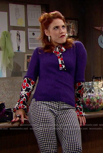 Sally's red and black floral top, purple sweater and houndstooth jeans on The Bold and the Beautiful