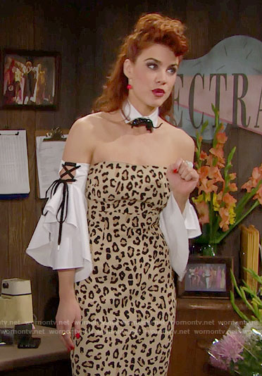 Sally's strapless leopard print dress, lace up sleeves and panther pin on The Bold and the Beautiful