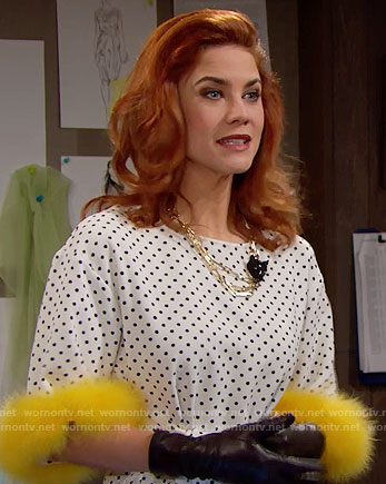 Sally's polka dot top and black panther necklace on The Bold and the Beautiful