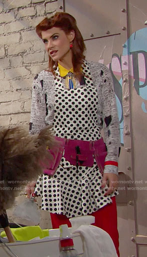 Sally's printed and colorblock shirt  and polka dot apron on The Bold and the Beautiful