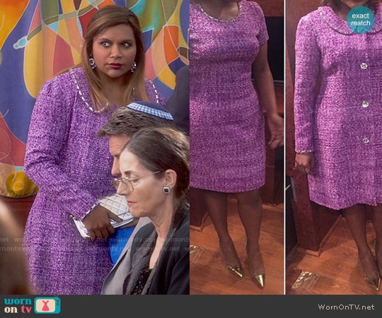 Salvador Perez Custom Made Purple Coat and Dress worn by Mindy Lahiri (Mindy Kaling) on The Mindy Project