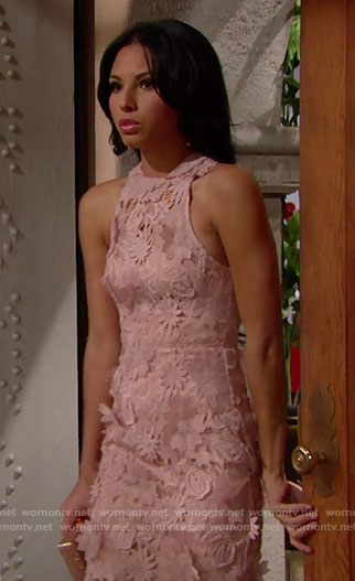 Sasha's pink lace gown at Nicole's wedding on The Bold and the Beautiful