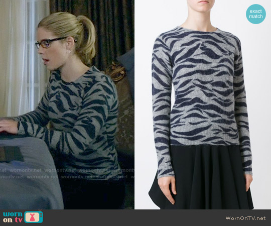 See by Chloe Zebra Print Jumper worn by Felicity Smoak (Emily Bett Rickards) on Arrow
