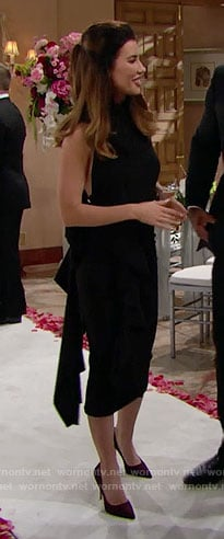 Steffy's black halter dress at Nicole's wedding on The Bold and the Beautiful