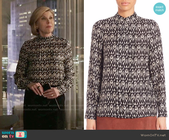SET Ikat Pleated Front Blouse worn by Diane Lockhart (Christine Baranski) on The Good Fight