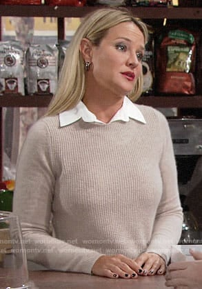 Sharon's beige textured front layered sweater on The Young and the Restless