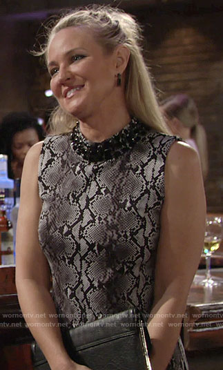 Sharon's grey snake print dress with beaded neck on The Young and the Restless