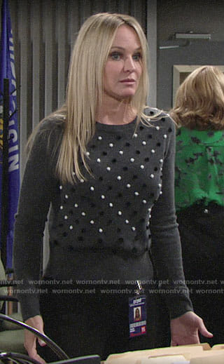 Sharon's grey pom pom sweater on the Young and the Restless