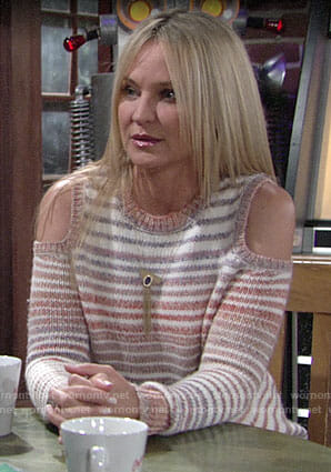 Sharon's striped cold-shoulder sweater on The Young and the Restless