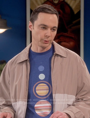 Sheldon's blue planets graphic tee on The Big Bang Theory
