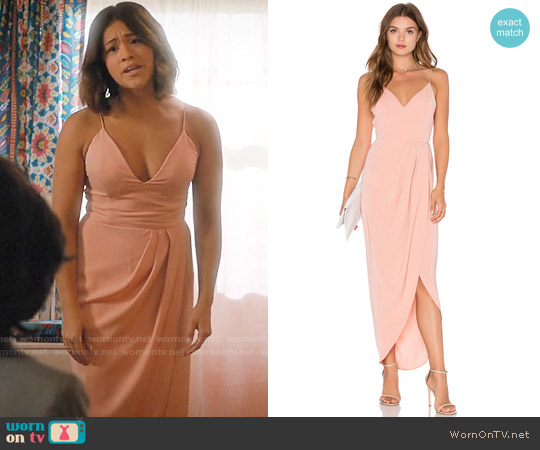 Shona Joy Cocktail Draped Dress worn by Jane Villanueva (Gina Rodriguez) on Jane the Virgin