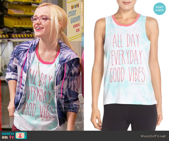 Spiritual Gangster 'Good Vibes All Day' Muscle Tee worn by Dove Cameron on Liv & Maddie