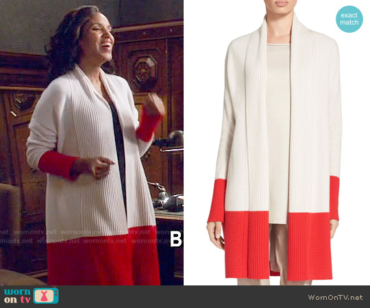 St John Collection Cashmere Honeycomb Knit Jacket worn by Kerry Washington on Scandal