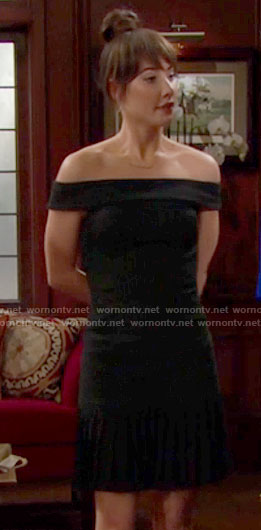 Steffy's black pinstriped off-shoulder dress on The Bold and the Beautiful