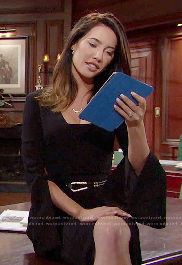 Steffy's black flared sleeve dress and gold belt on The Bold and the Beautiful