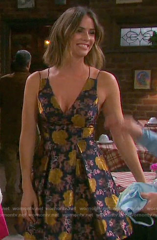 Stephanie's floral pleated jacquard dress on Days of our Lives