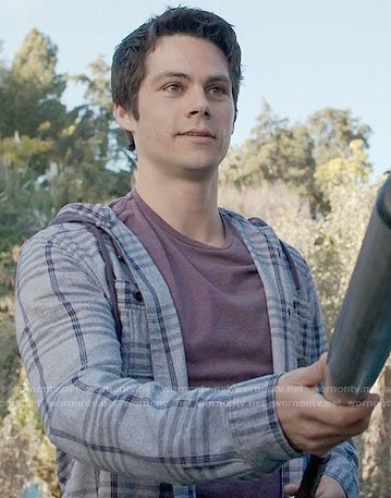 Stiles's grey checked hooded shirt on Teen Wolf