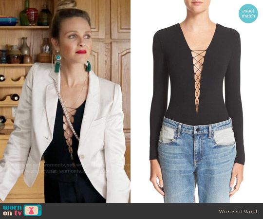 T By Alexander Wang Lace-Up Bodysuit worn by Phoebe Wells (Beau Garrett) on GG2D